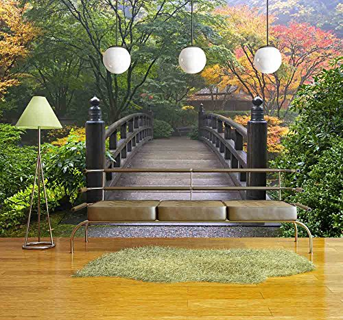 Wall26   Wooden Bridge At Portland Japanese Garden Oregon In Autumn    Removable Wall Mural | Self Adhesive Large Wallpaper   66x96 Inches