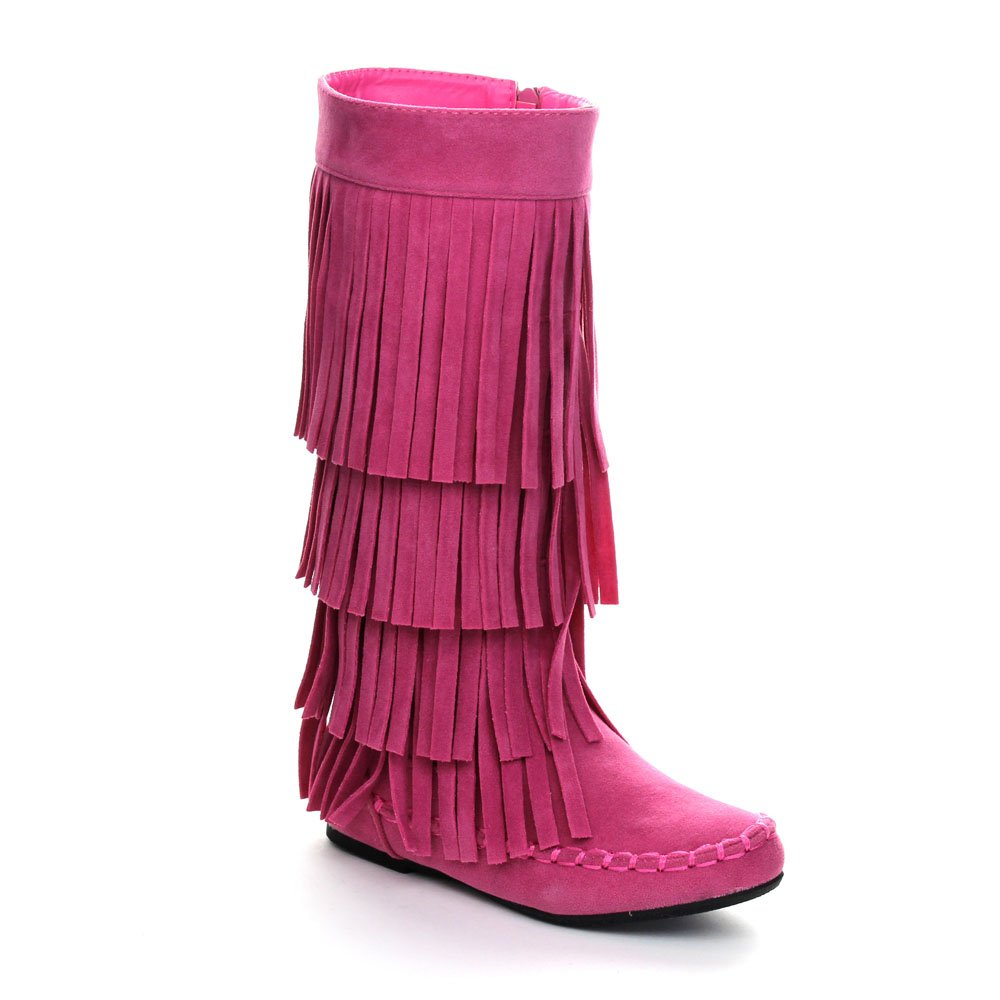 I LOVE KIDS Ava-18K Children's 3-Layers Fringe Moccasin Style Mid-Calf Boots,Pink,2