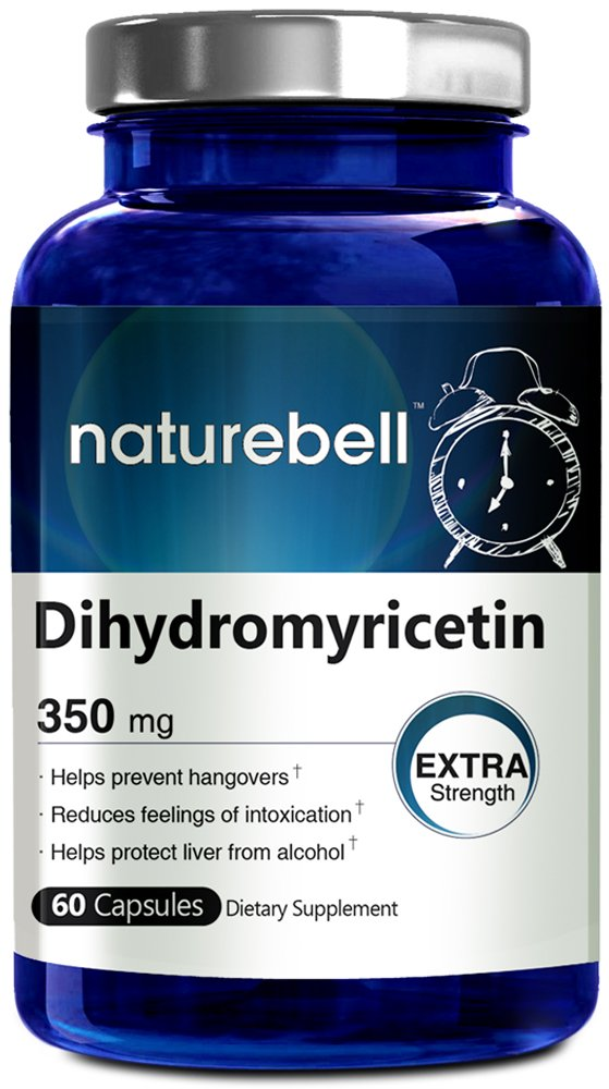 Premium Dihydromyricetin 60 Capsules - 350 mg (Hovenia Dulcis Extract) Naturally Prevents Hangover, Made in USA