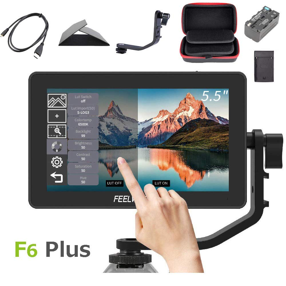 Feelworld F6 Plus +Battery + Charger +Carrying Case 5.5 Inch 3D LUT Touch Screen Field Monitor IPS FHD 1920x1080 Support 4K with Tilt Arm for DSLR Mirrorless Camera by FEELWORLD