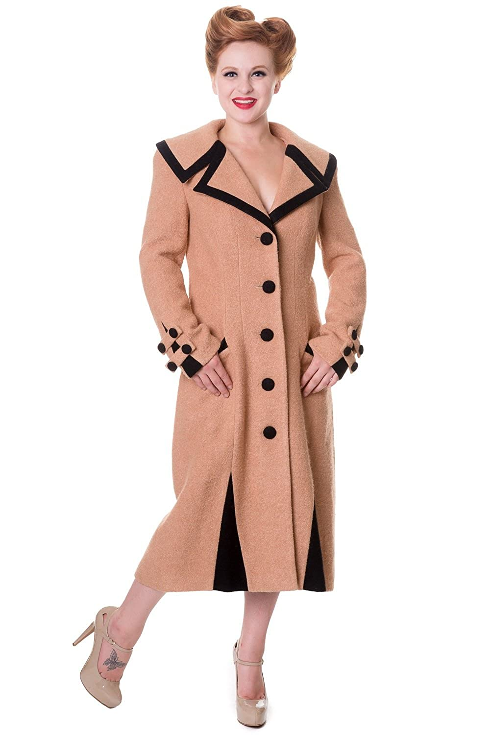1930s Style Coats, Jackets | Art Deco Outerwear Banned Long Vintage Button Coat - Black or Camel £93.99 AT vintagedancer.com