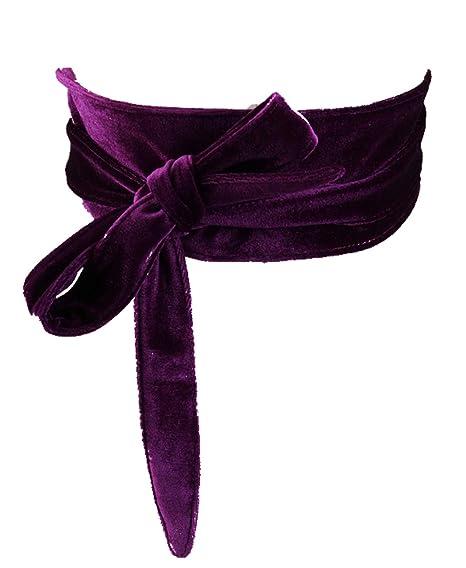 Womens Soft Velvet Wrap Around Belt Self Tie Obi Waist Band for Dress