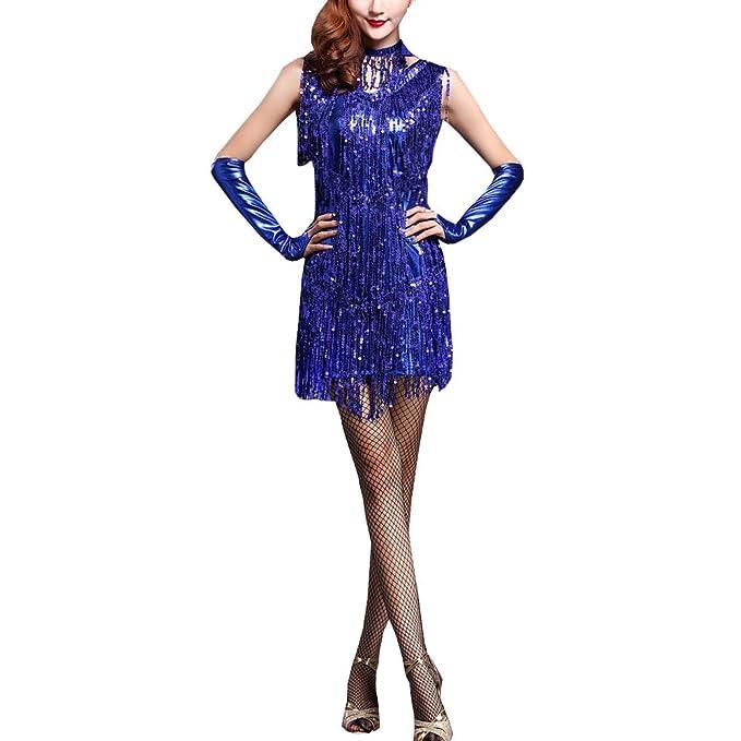 5dec4d058837 Amazon.com  Women s Dancewear Sequin Fringe Dance Costumes Ballroom Tassel  Dress Latin Dance Skirt Women Three Pieces(Dress+Gloves+Necklace) (One  Size