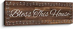 Bless This House Inspirational Wall Art Plaque Motivational Wall Signs Motto Canvas Print Home Decor, 6 x 17 inch, Brown