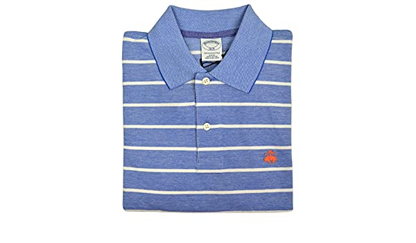 1f2f0dee7e Brooks Brothers Men s Slim Fit Performance Striped Polo Shirt Chambray  Light Blue at Amazon Men s Clothing store