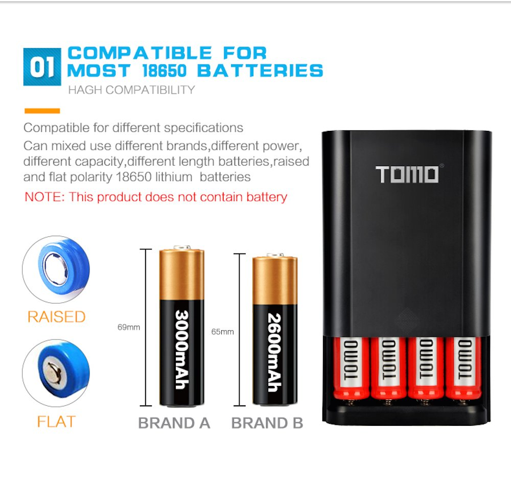 Authentic Tomo M4 3 In 1 Portable 18650 Battery Charger Xpower 2600mah Liion W Protection Circuit Free Dual Usb Ports Diy Power Bank With Digital Lcd Display For Iphone Ipad