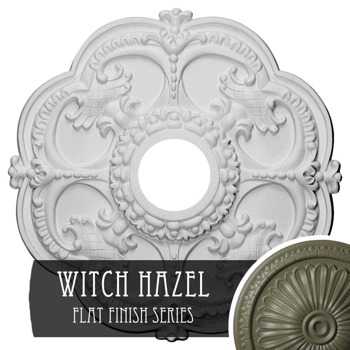 Witch Hazel Ekena Millwork CM17ROUWF redherham Ceiling Medallion, 18 OD x 3 1 2 ID x 1 1 2 P, Ultra Pure White