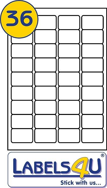 36 etiquetas por página/hoja, 500 hojas, en blanco blancos función ...