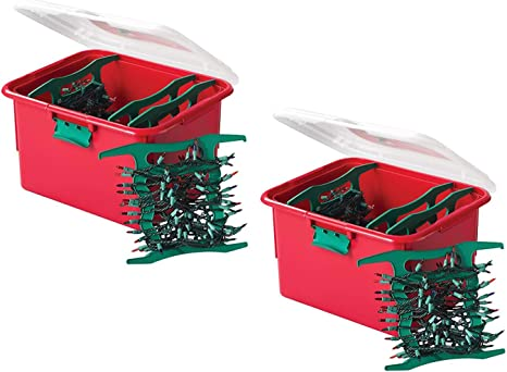 Amazon Com Homz 7875rbgldc 02 Light Organizer Holiday Plastic Storage Container 2 Pack Red And Green 2 Sets Home Kitchen