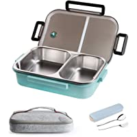 Stainless Steel Lunch Container,2 Compartments Stainless Steel Square Leak Proof Lunch Box with Insulated Lunch Bag Portable Utensil for Kids and Adults (34oz-Blue)