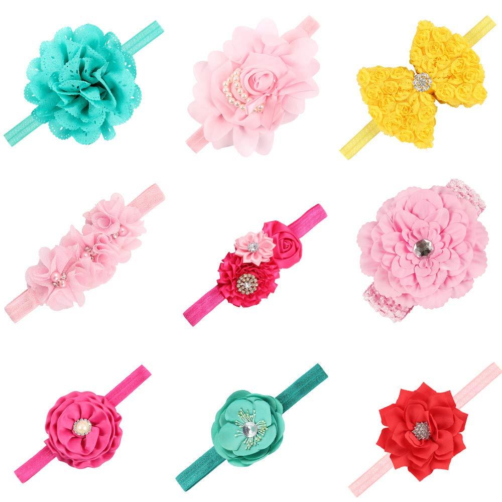 Auxm 9 Piezas adema para niñ a Tocado De Flores Infantiles Diadema de Perlas de imitació n Fotografí a Props