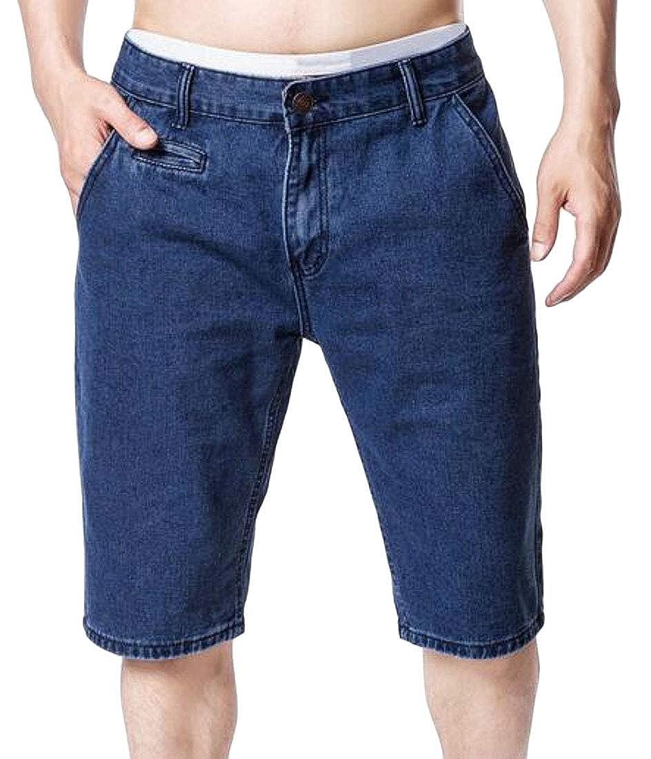 KLJR Men Casual Washed Summer Straight Leg Slim Denim Shorts Jeans