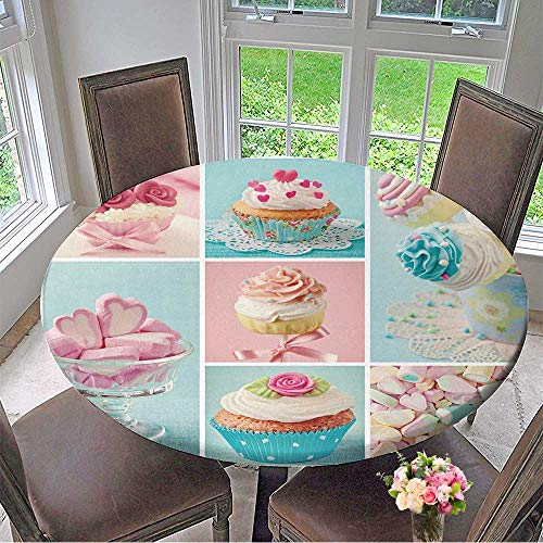 Mikihome Chateau Easy-Care Cloth Tablecloth Pastel Colored Cupcakes and Marshmallow Collage for Home, Party, Wedding 59