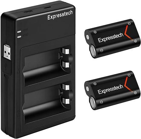 expresstech @ Recargable Batería 2000 mAh 2pcs mit USB Cargador Carga Kit para mandos Xbox One X-One S Xbox1 X Controlador Gamepad: Amazon.es: Electrónica