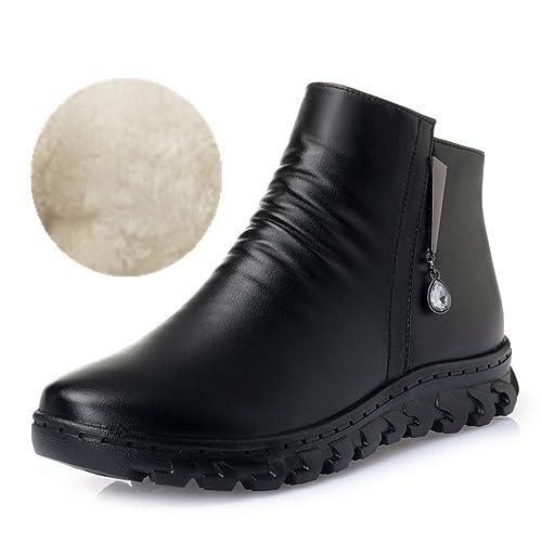 ブーツ レディース フラット 厚底 婦人靴 女性 ママの靴 大きいサイズ ラインストーン付き 滑り