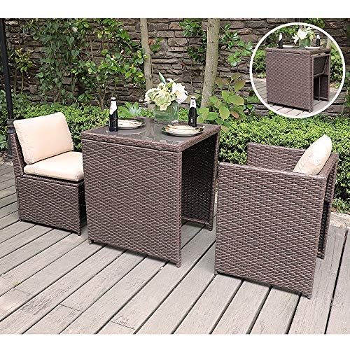 SUNSITT Outdoor Wicker Bistro Table Set 3 Piece Patio Furniture Set with Cushions, Space Saving Design, Garden Balcony Porch Furniture Brown (Balcony Furniture Dining)
