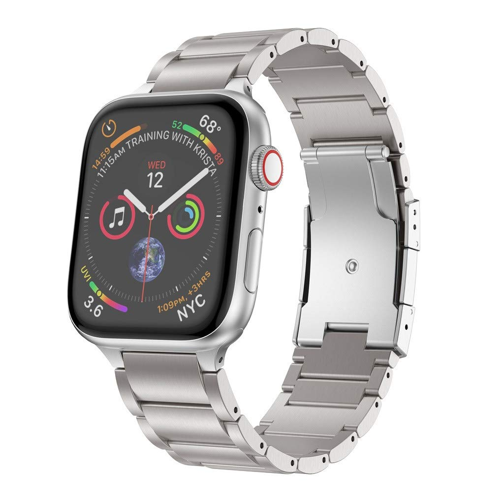 OUFENLI Watch Band for Apple Watch Series 4 3 2 1,Titanium Alloy Quick Release Wristband Bracelets for Apple Watch Series 4 3 2 1 40mm 38mm (Silver)