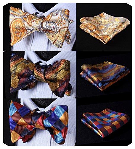 HISDERN 3 Packs Classic Men's Adjustable Self Tie Bow tie & Pocket Square Sets Good Gift for - Brands Quality Good