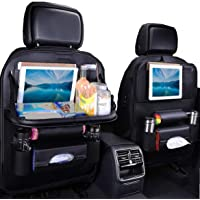 JECARNO Car Seat Protector Back Seat Organizer with Foldable Table Tray, PU Leather Car Backseat Organizer for Kids, Storage Bottles, Tissue Box, Toys, iPad Holder OneSize Black - 2 Pack