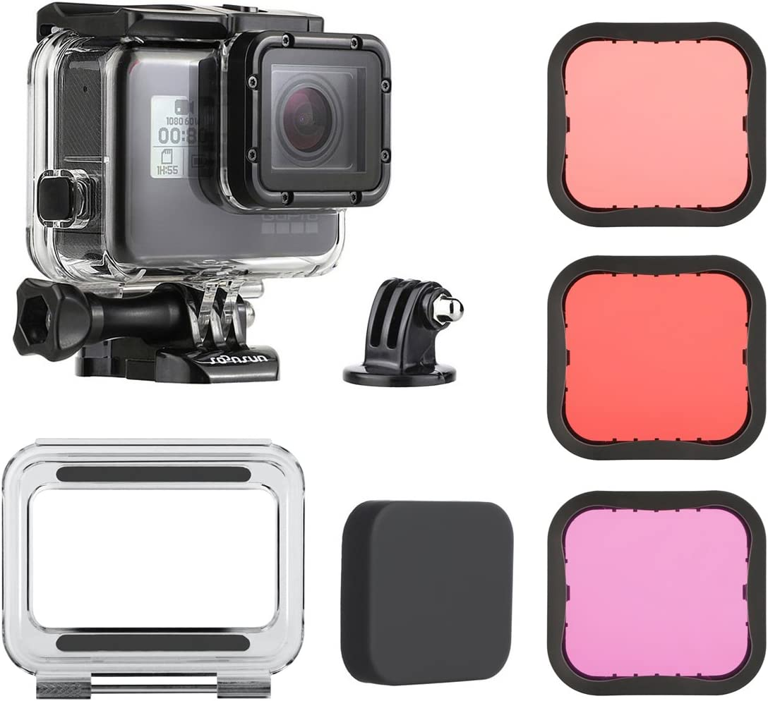 SOONSUN 45m Underwater Waterproof Dive Housing Case with 3-Pack Dive Filters for GoPro Hero 5 6 7 Black Hero (2018) - Include Backdoor, Quick Release Buckle, Thumb Screw, Tripod Adapter, Lens Cap