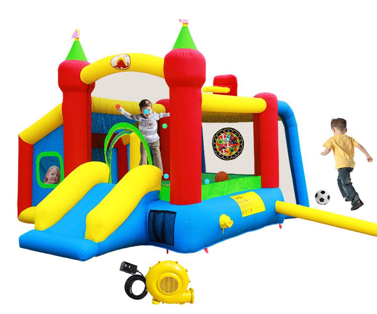 WELLFUNTIME Inflatable Bounce House,Jumping Castle Slide with Blower,Kids Bouncer with Ball Pit by WELLFUNTIME
