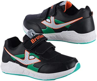 Black Leather Casual Boys Sneakers