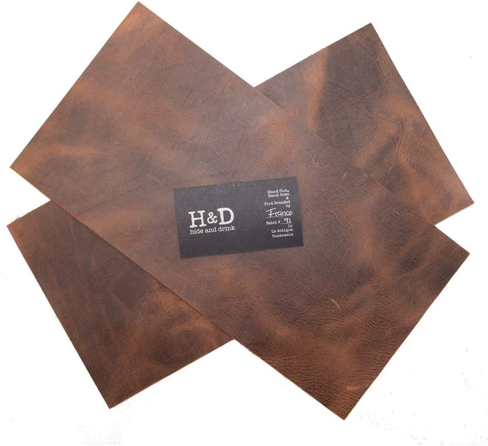Rustic Leather Rectangles Heavy Weight 2 Piece Set for Crafts//Tooling//Hobby Workshop 1.6-1.8mm :: Bourbon Brown 6 x 12 in. Hide /& Drink