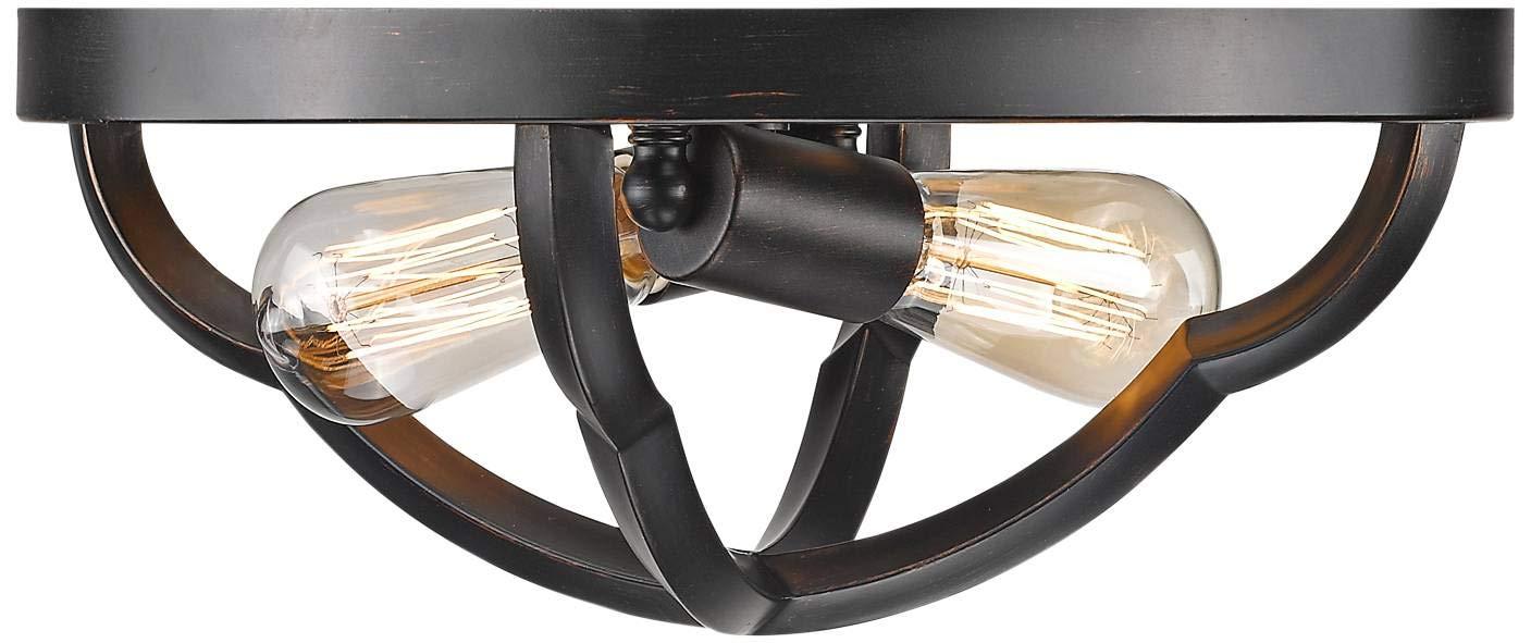 Bronze Golden Lighting 5926-FM ABZ Two Light Flush Mount