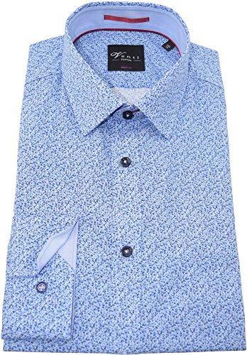 Venti Herrenhemd bodyfit blaues Hemd mit Druck langarm Kent Kragen ohne Tasche Kollektion Size 44