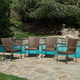4 Piece Outdoor Wicker Chair with Arms Stackable and Durable with Weather and UV Resistant
