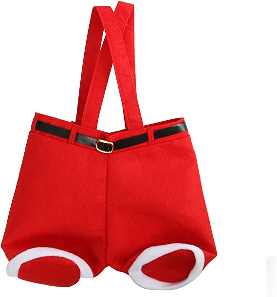 Cusfull 6 Pcs Sacs Cadeaux Bonbons de No/ël Pantalon de P/ère No/ël Porte Bouteilles avec Une Poign/ée Portable Cadeau Paniers Emballage pour la F/ête//Mariage