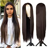 AISI HAIR Dark Brown Natural Long Straight Hair Wig For Women Straight Middle Part Synthetic Hair Wig Heat Resistant…
