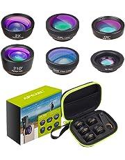 Apexel 6 in 1 Telefono HD Kit Obiettivo per Fotocamera Obiettivo grandangolare, Macro, fisheye, teleobiettivo, CPL/Star Clip-on Phone per iPhone 8 / X 7/7 più Samsung S8 Android Smartphones