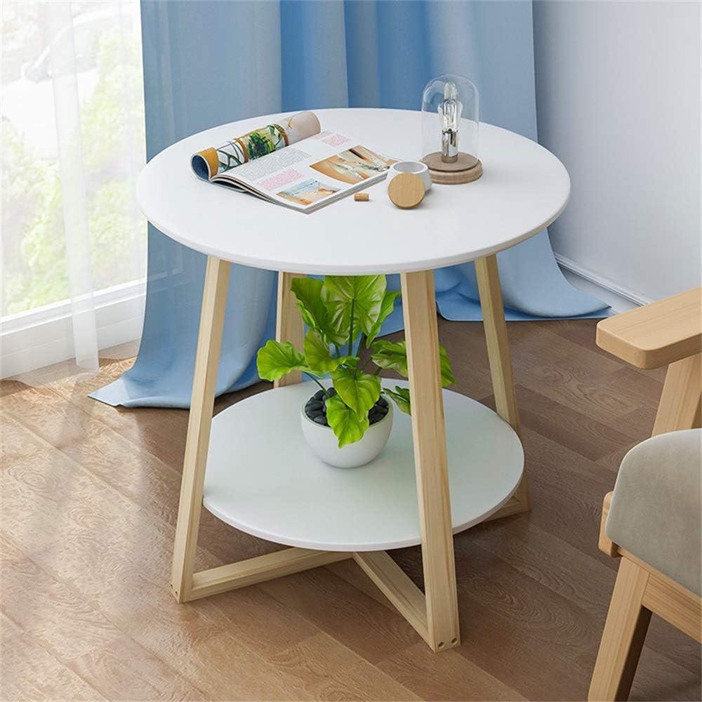 Online Winkel ZRRtables ronde bijzettafel van Scandinavisch massief hout, moderne bijzettafel in de woonkamer, wit, breed bureau, stabiele basis C IbkdYaE