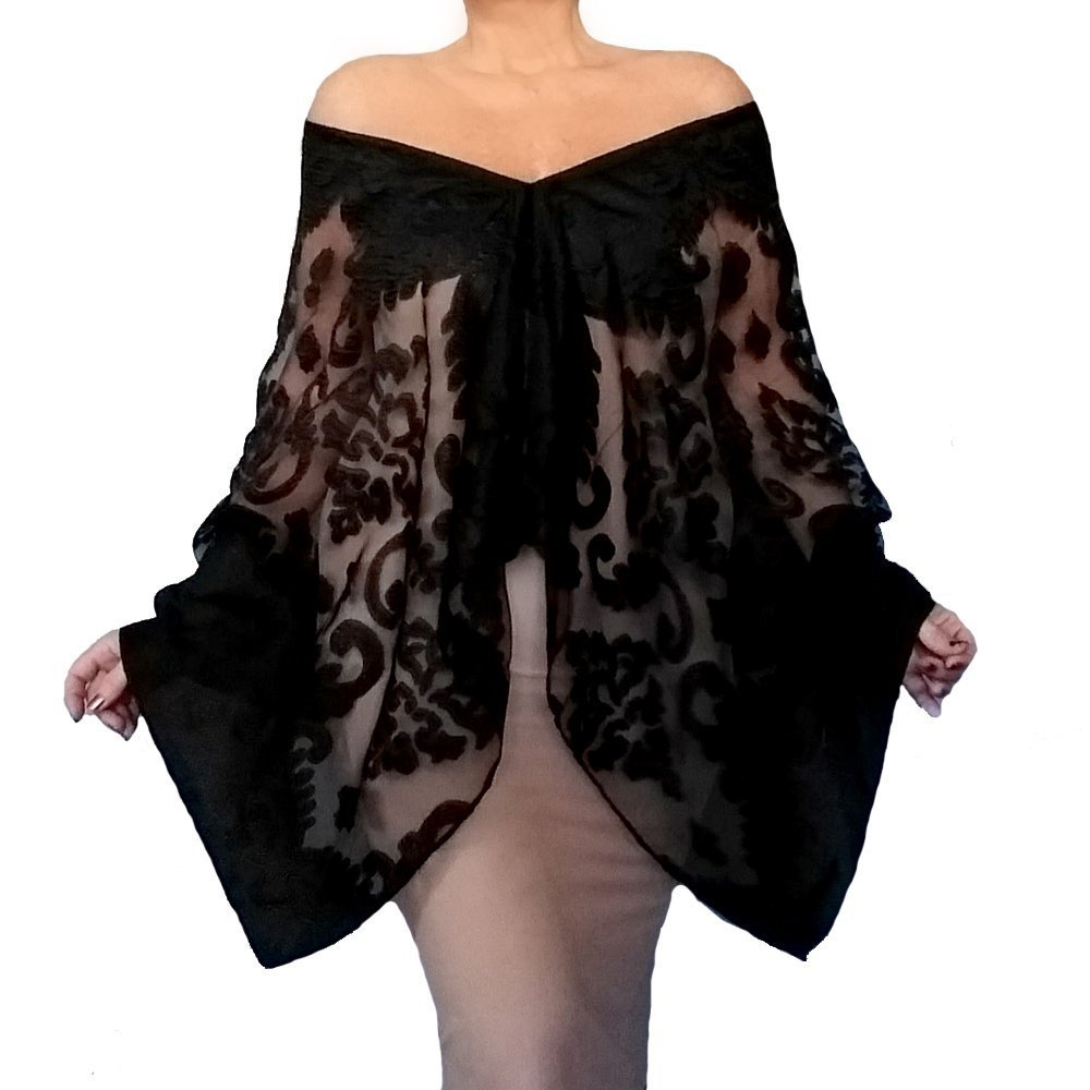 Plus Size Black Wrap Organza Evening Shawl Fancy Stole By ZiiCi