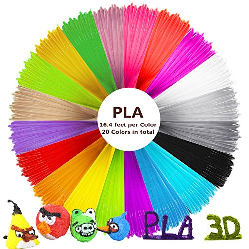 Pen Corn Plastic Biodegradable - 3D Drawing Pen Filament PLA 1.75mm Refills for 3D Printing Pen 328 Feet (20 Unique Colors)