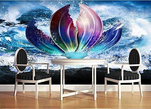 "3D Mermaid Sea Waves 6 Wall Paper Print Decal Deco Indoor Wall Mural Self-Adhesive Wallpaper AJ Wallpaper US Carly (Vinyl (No Glue & Removable), 【 82""x58""】 208x146cm ()"
