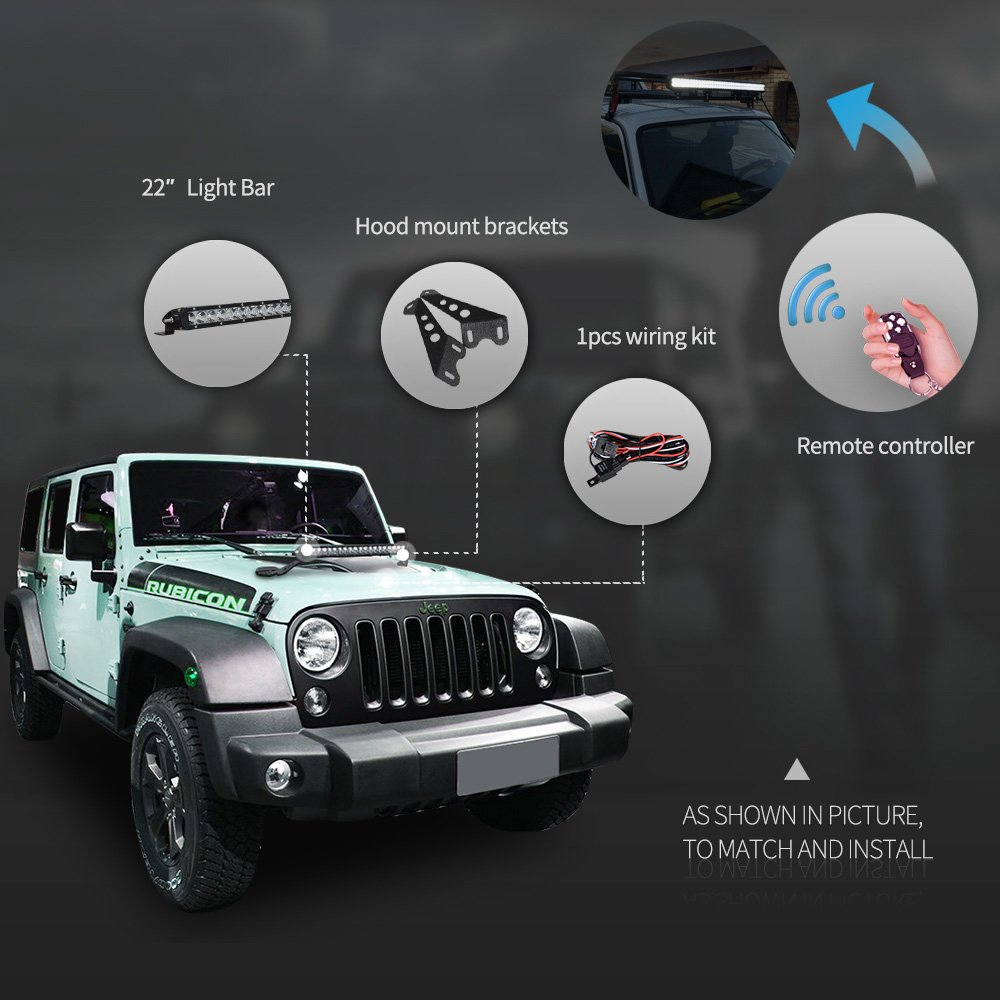 Racbox 100w 20 Inch Cree Led Light Bar Combo Hood Mount Wire Harness On Jeep Jk Bracket For Off Road Wrangler 07 16 With Free Switch Automotive