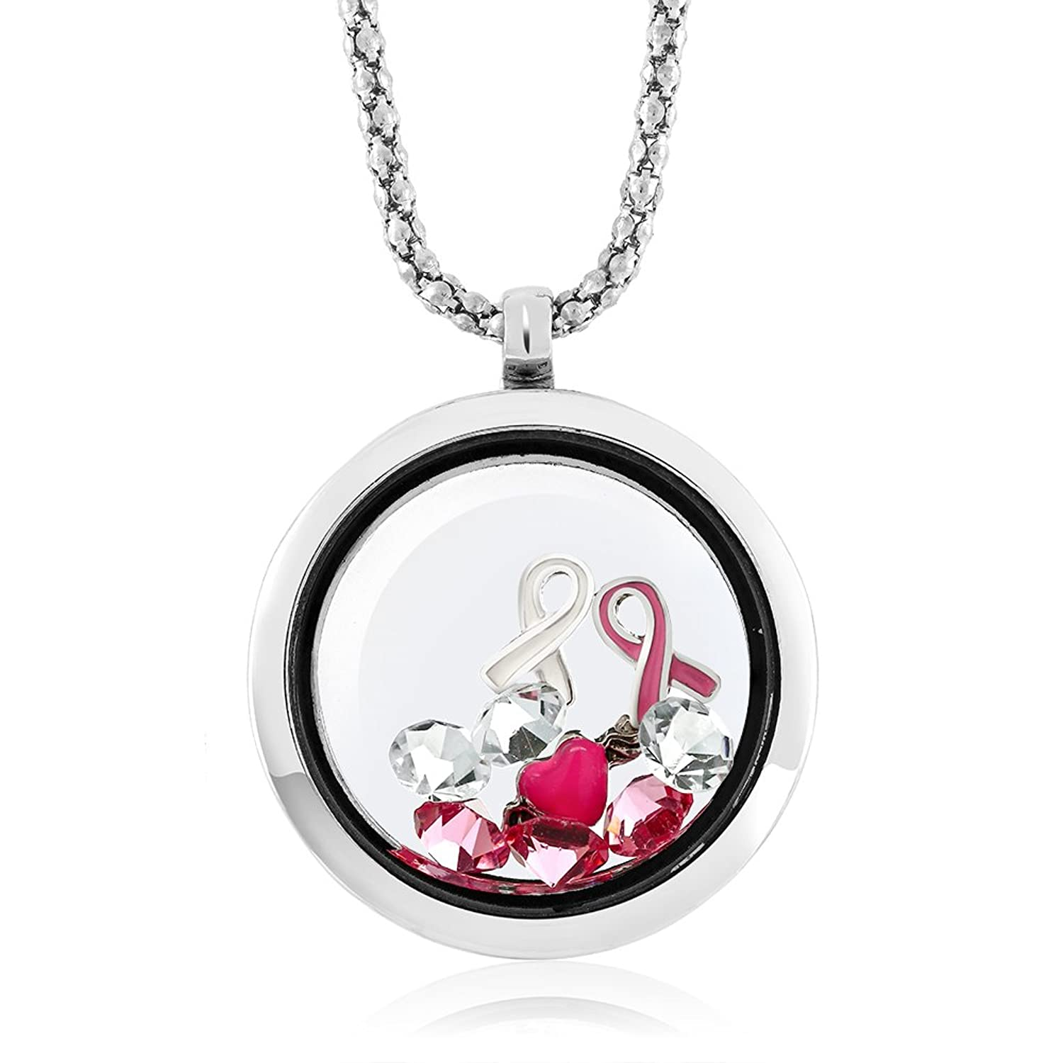 Amazon breast cancer awareness floating ribbon multi colored amazon breast cancer awareness floating ribbon multi colored crystals locket pendant necklace with 24 inch chain jewelry buycottarizona