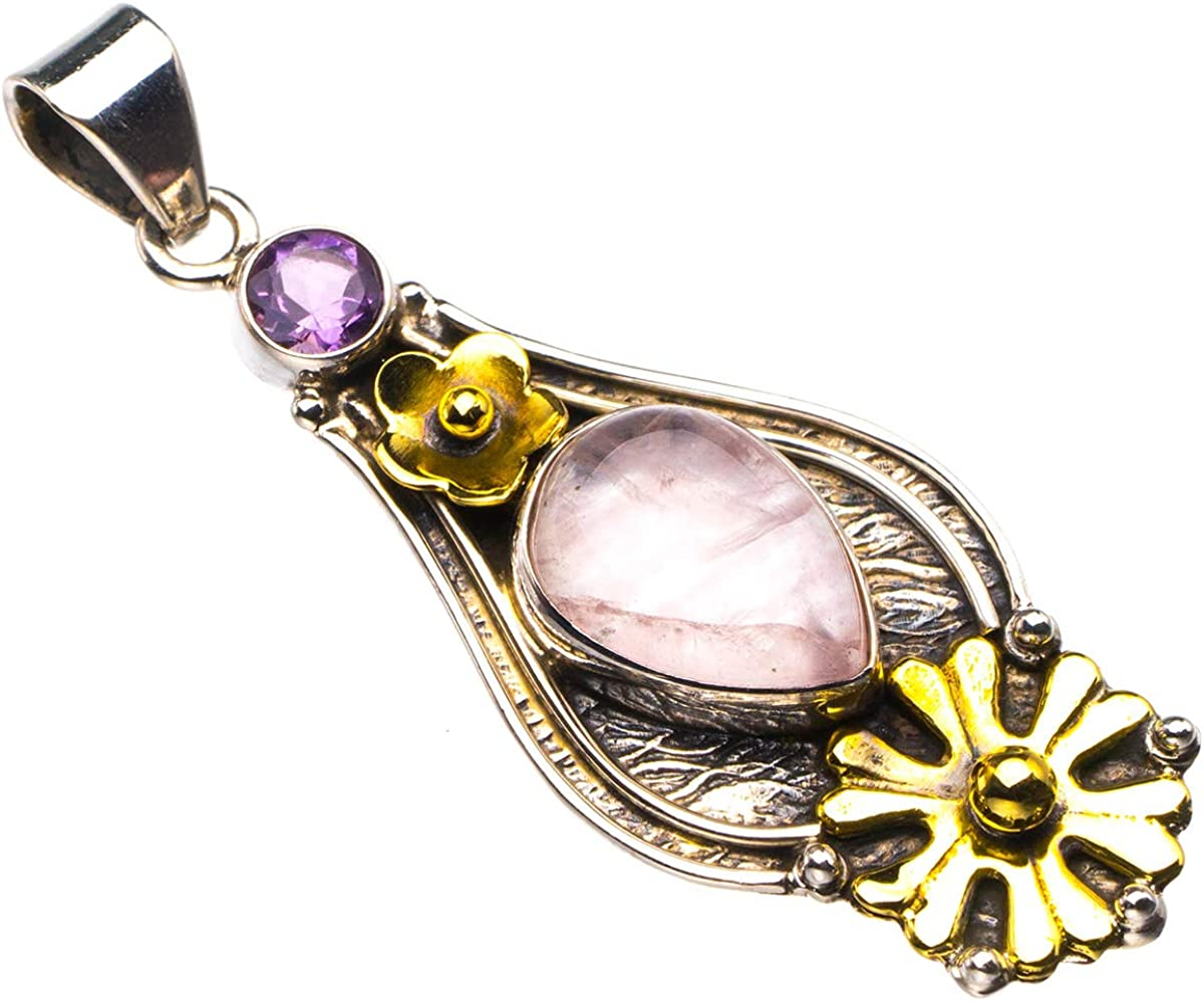 Natural Two Tones 18K Gold Plated Rose Quartz And Amethyst Handmade 925 Sterling Silver Pendant 2 D2588