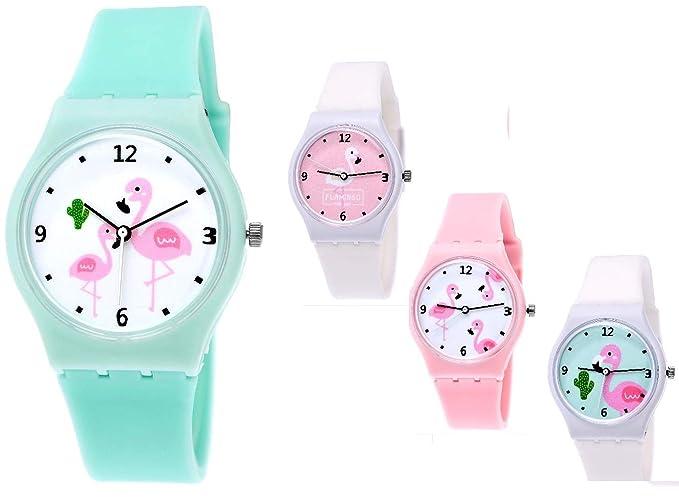 Bonita Pure Time® Mujer Reloj niña de reloj de cuarzo reloj mujer reloj de silicona reloj de pulsera Caucho con flamencos Diseño en turquesa: Amazon.es: ...