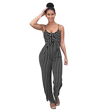 9b2bd1a9f15 Amazon.com  Womens Strappy Striped Jumpsuits Teens Fornt Tie Long Wide Leg  Pants Rompers Bravetoshop(Black