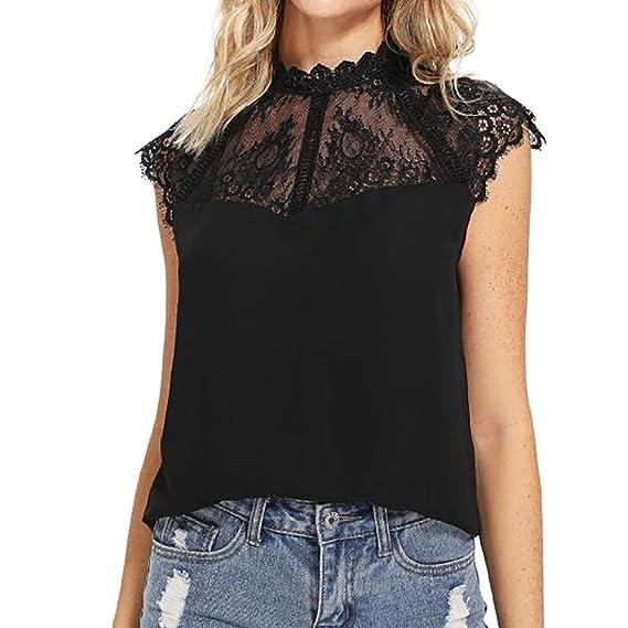 Longra❤Ropa de mujer personalizada verano sin mangas gasa encaje chaleco blusa Tank Tops ropa