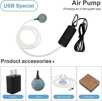 Aquarium Air Pump Portable Fish Tank Aquarium Oxygen Air Pump USB Charging Fish Tank Air Pump with Accessories Air Stone Check Valve and Tube