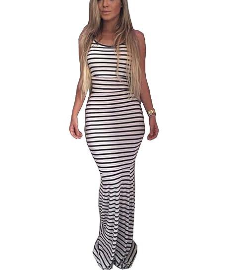 c2344f530e9 Women Stripe Sexy Strap Backless Summer Boho Maxi Long Evening Party Dress (M)