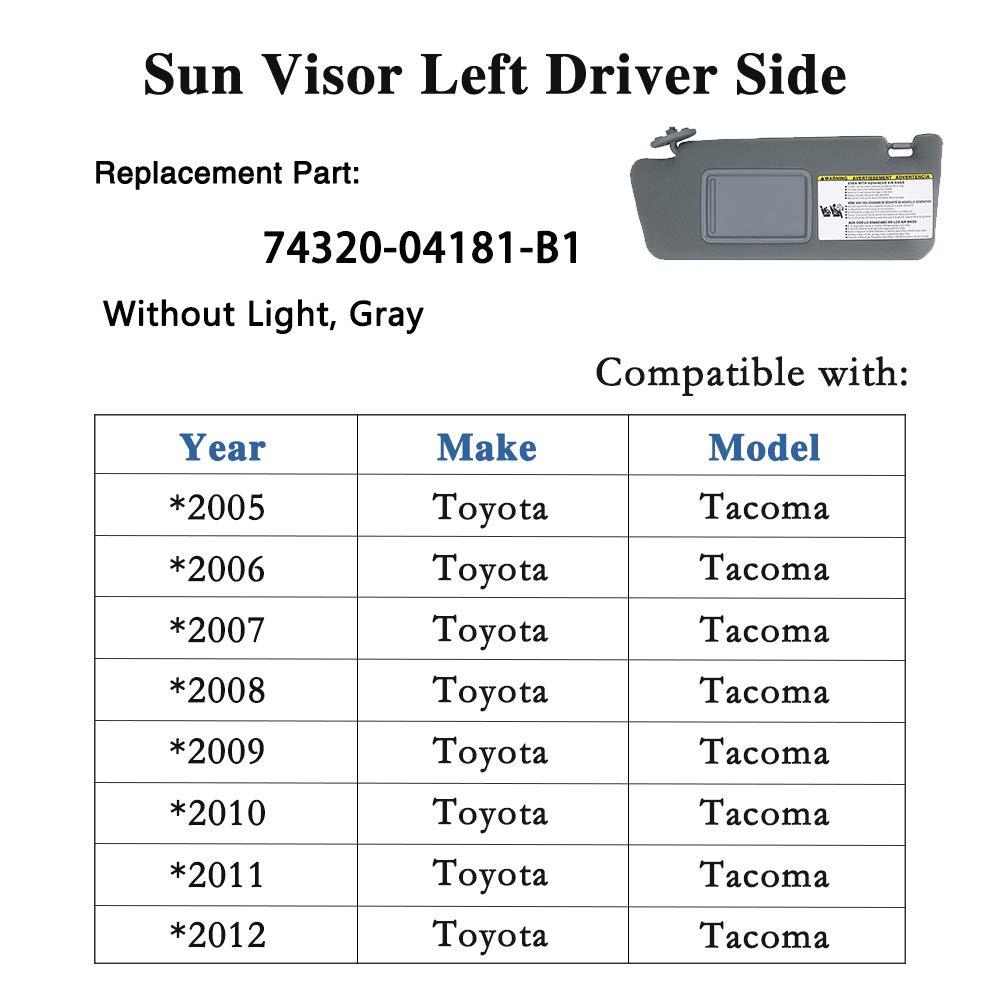 SKD RV Tech Sun Visor Left Driver Side for Toyota Tacoma 2005 2006 2007 2008 2009 2010 2011 2012 Sunvisor Assembly 74320-04181-B1 Without Light Gray