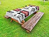 Lunarable Outer Space Outdoor Tablecloth, Comic Alien Abduction Signs Composition Area 51 UFO Presence Fantasy Concept, Decorative Washable Picnic Table Cloth, 58 X 84 inches, Black and Red