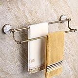 HQLCX Retro Towel Bar, Bathroom, All Copper, European Towel, Rod, Double Pole