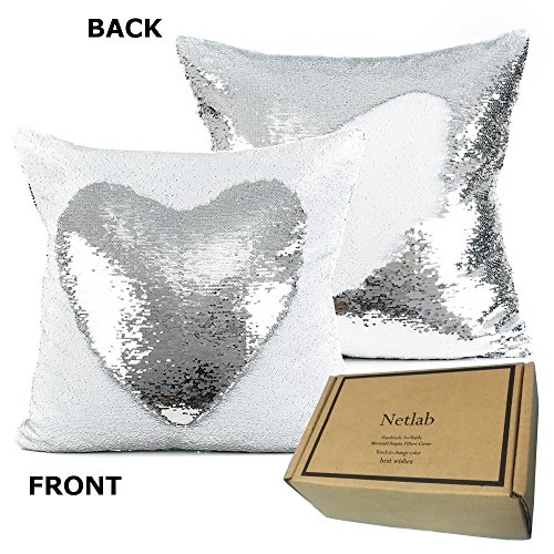 18 Inch Mermaid Europe Luxurious Sequin Pillow Cover (White/Silver) (Sequin White Pillow)