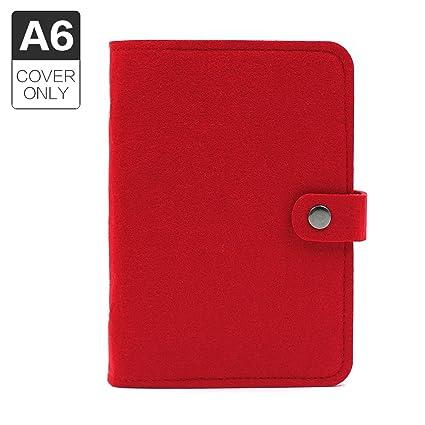 Funda de diario, tamaño A5, con 6 anillas, de fieltro, sin páginas de recambio., color A6 Red